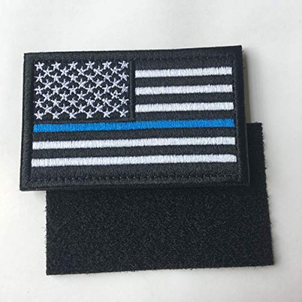Hng Kiang Hu Airsoft Morale Patch 5 Bundle 2 Pieces-Tactical Police Law Enforcement Thin Blue Line American Flag US United States of America Military Morale Patches (Black-Blue Thin)