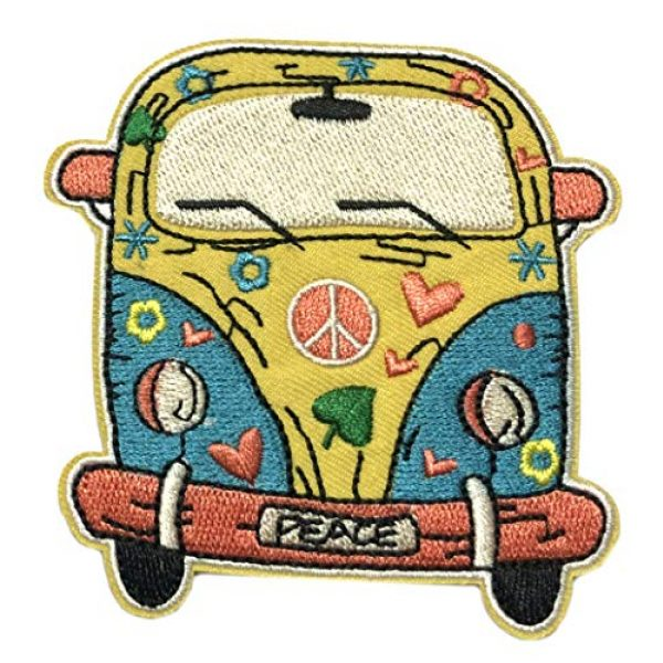 """Appalachian Spirit Airsoft Morale Patch 1 Hippie Peace Van 3.5"""" Embroidered Patch DIY Iron-on or Sew-on Decorative Vacation Souvenir Travel Appliques Retro Vintage 1970's Peace Van Weed Love Heart Dove Surf Music Festival Karma"""