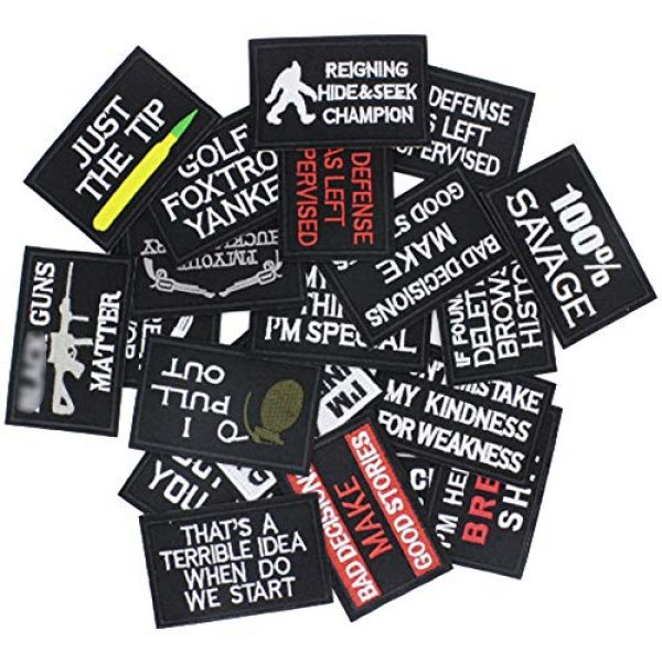 DATOUWEN ACCESSARY Airsoft Morale Patch 2 ZHDTW 20pcs Mixed Tactical Morale Iron on Patches for Clothing Biker Vest Jackets, Sew on Applique Patch for Backpacks DT013