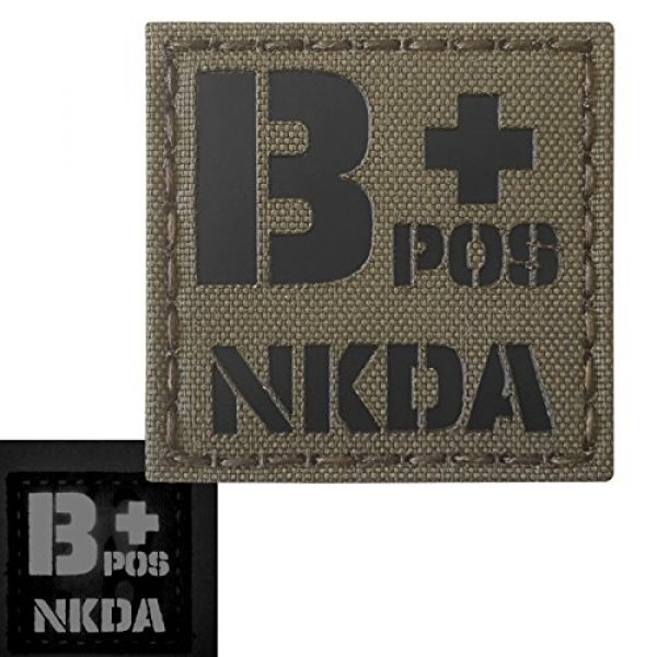 Tactical Freaky Airsoft Morale Patch 3 Ranger Green Infrared IR BPOS NKDA B+ Blood Type 2x2 Tactical Morale Fastener Patch