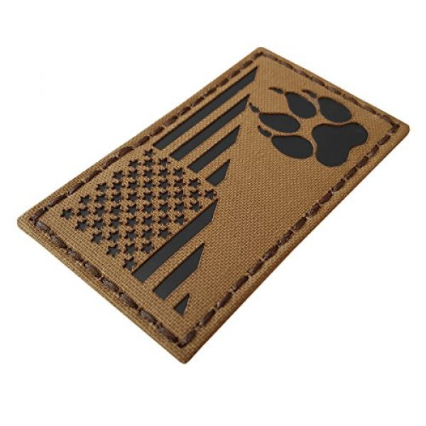 Tactical Freaky Airsoft Morale Patch 4 Coyote IR K9 Dog Handler Paw K-9 USA Flag Brown Tan Infrared Tactical Morale Hook&Loop Patch