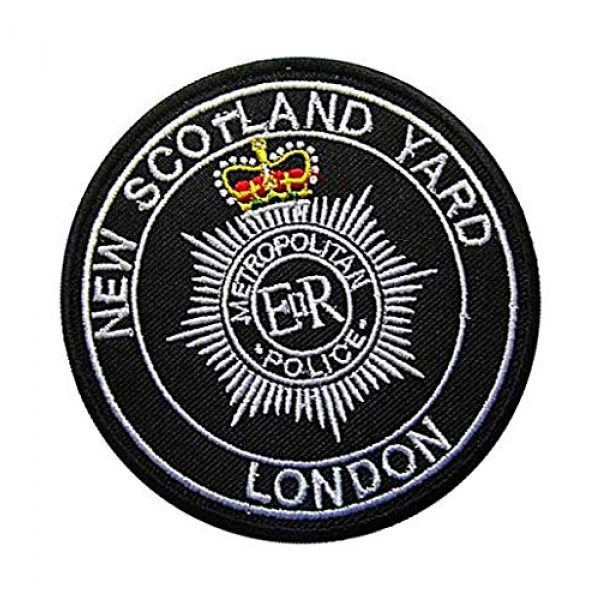 Embroidery Patch Airsoft Morale Patch 2 UK British New Scotland Yard - London Military Hook Loop Tactics Morale Embroidered Patch