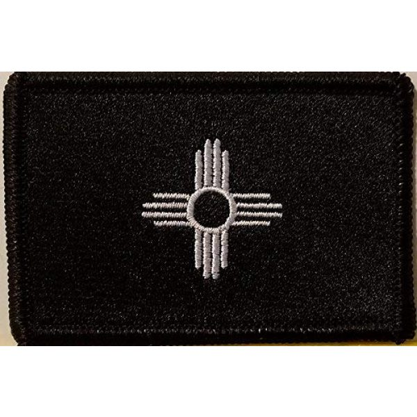 Fast Service Designs Airsoft Morale Patch 1 New Mexico State Flag Embroidered Patch with Hook & Loop Morale Tactical Emblem Black Border (Black & White Version #4)