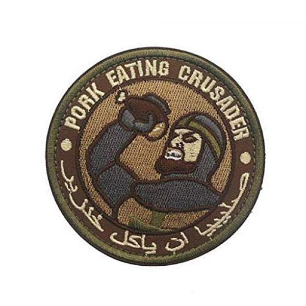 Embroidery Patch Airsoft Morale Patch 3 Pork Eating Crusader Military Hook Loop Tactics Morale Embroidered Patch (color1)