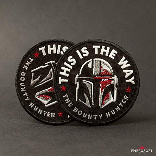 Embrosoft Airsoft Morale Patch 7 Bounty Hunter Round Patch - This is The Way Mandalorian - Star Wars TV Series Morale Emblem - Embroidered Iron On - Size: 3.5 x 3.5 inches