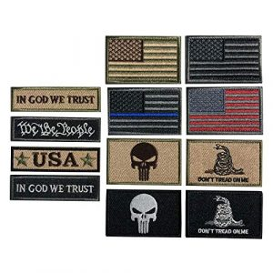 XUNQIAN Airsoft Morale Patch 1 Bundle 12 Pieces USA Flag Patch Thin Blue Line Tactical American Flag US United States Military Morale Patches Set for Caps,Bags,Backpacks,Tactical Vest,Military Uniforms (D-USA Patch)