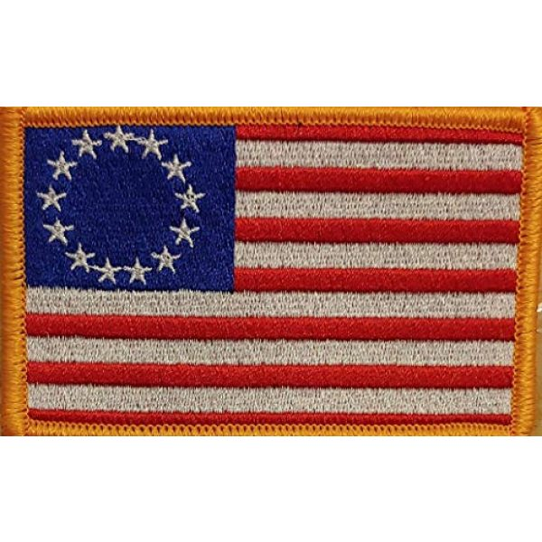 Fast Service Designs Airsoft Morale Patch 2 Betsy Ross with White Stars Flag Embroidered Patch with Hook & Loop Tactical Morale USA Patch Gold Border
