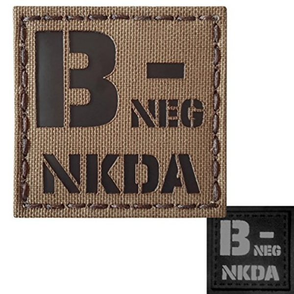 Tactical Freaky Airsoft Morale Patch 1 Coyote Brown Tan Infrared IR BNEG NKDA B- Blood Type 2x2 Tactical Morale Touch Fastener Patch