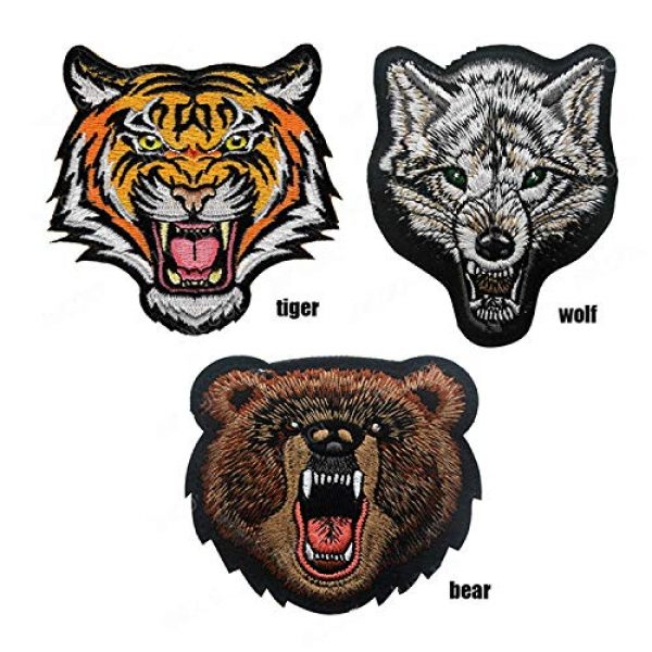 LanXin Airsoft Morale Patch 2 Tiger Bear Wolf Embroidery Patch Animal Military Morale Patches Tactical Combat Emblem Applique Embroidered Badges Hook and Loop Fasteners Backing Patches