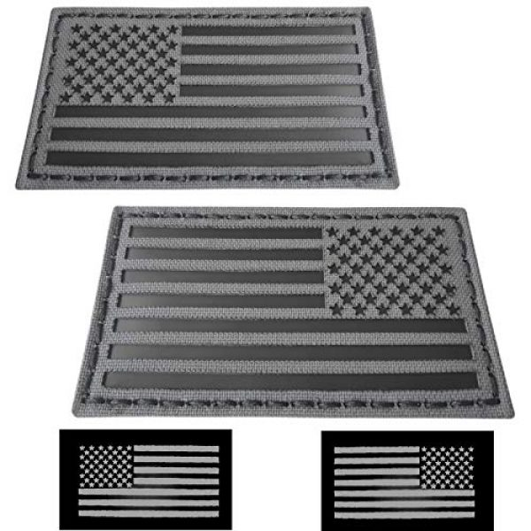 Tactical Freaky Airsoft Morale Patch 1 Tactical Freaky Wolf Gray Bundle Set of 2 pcs IR USA American Flags Forward Reversed Infrared Morale Fastener Patches