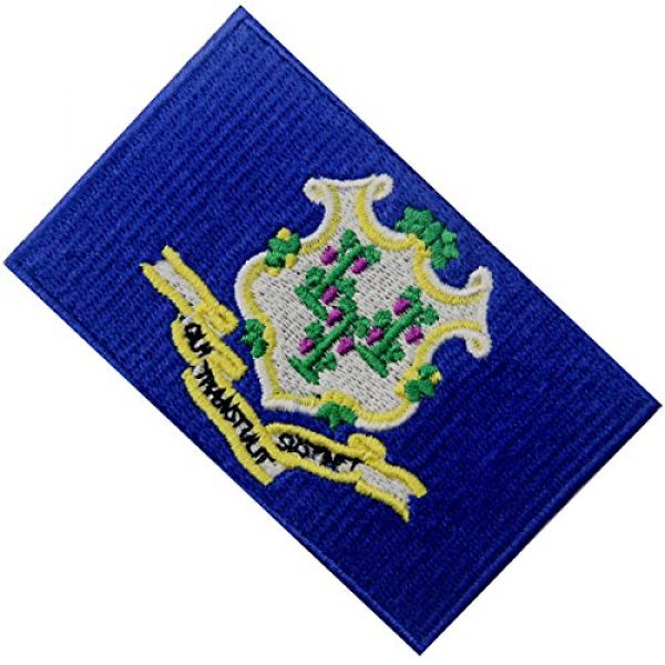 EmbTao Airsoft Morale Patch 4 Connecticut State Flag Embroidered Emblem Iron On Sew On CT Patch