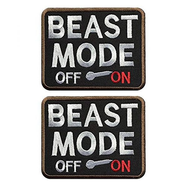 Ebateck Airsoft Morale Patch 1 Ebateck 2Pack Beast Mode Patch, 2.75-Inch-by-3.5-Inch, Tactical Patches for Backpacks with Hook Fastener
