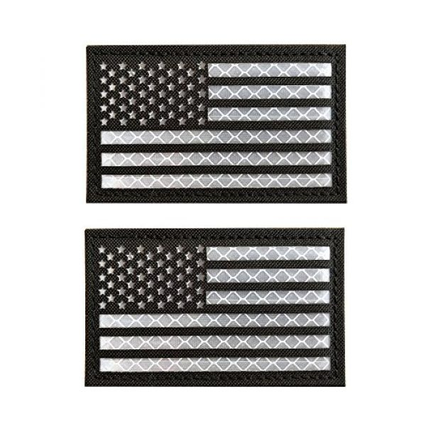 Baotu Airsoft Morale Patch 1 2x3.5 Reflective Black White US USA American Flag Tactical Patches Hook-Fastener Backing (2 Pack)
