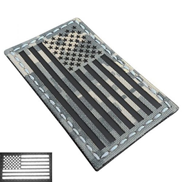 LEGEEON Airsoft Morale Patch 2 Bundle Set of 2 ACU Infrared IR USA American Flags Forward And Reversed 3.5x2 Laser Cut Morale Fastener Patches