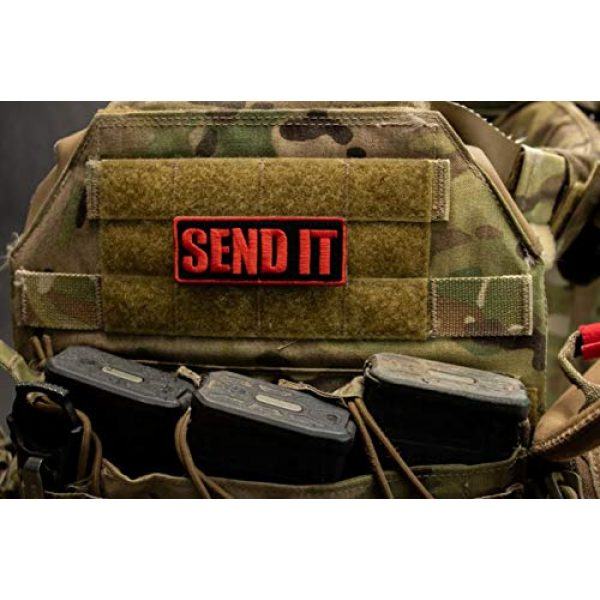 BASTION Airsoft Morale Patch 2 BASTION Morale Patches (Send It, Choose Color)   3D Embroidered Patches with Hook & Loop Fastener Backing   Well-Made Clean Stitching   Military Patches Ideal for Tactical Bag, Hats & Vest (Red)