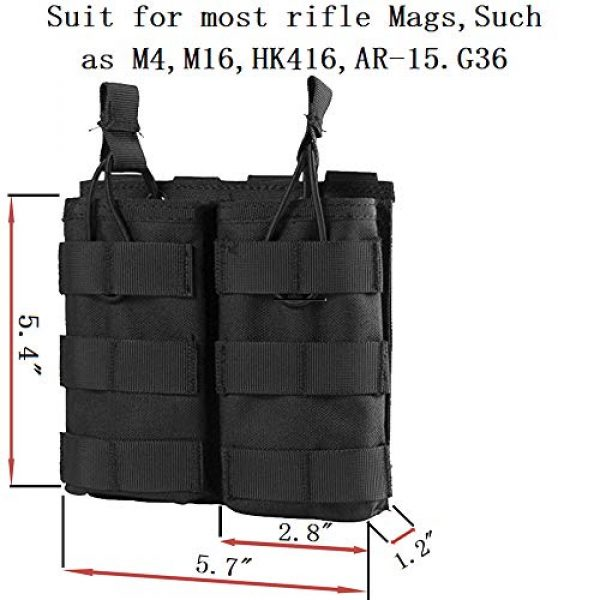 ATBP Tactical Pouch 2 ATBP Large Tactical Molle Drawstring Dump Pouch Rifles Magazine Utility Tool Belt Fanny Hip Holster Water Bottle Holder Waist Bag Pack (Black,Double for Rifle)