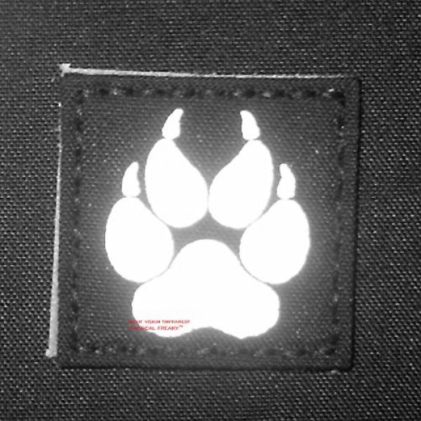 Tactical Freaky Airsoft Morale Patch 2 IR K9 Dog Handler Paw K-9 2x2 Wolf Gray Tactical Morale Fastener Patch