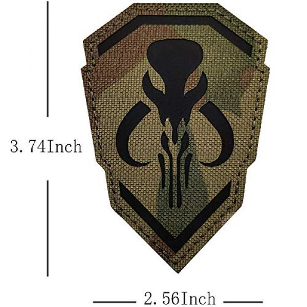 Kseen Airsoft Morale Patch 2 2 Pack IR Bounty Hunter Reflective Mythosaur Infrared Patch Star Wars Mandalorian Tactical Military Fastener Morale Shoulder with Hook and Loop Backing Embroidered CP Patches