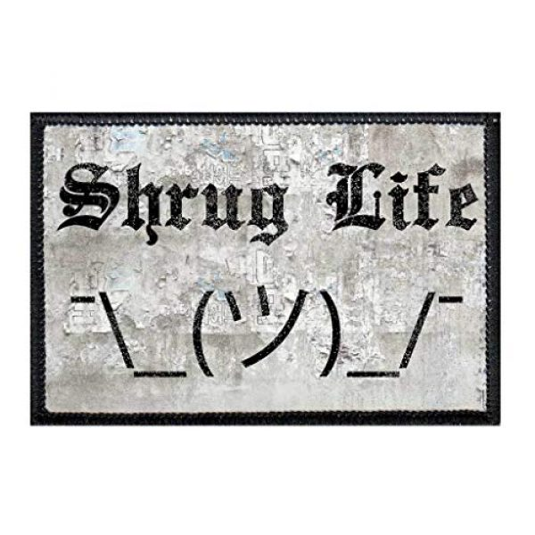 P PULLPATCH Airsoft Morale Patch 1 Shrug Life Morale Patch | Hook and Loop Attach for Hats, Jeans, Vest, Coat | 2x3 in | by Pull Patch