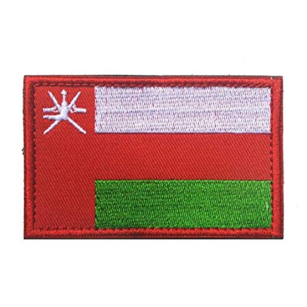 Tactical Embroidery Patch Airsoft Morale Patch 2 2pcs Oman Flag Embroidery Patch Military Tactical Morale Patch Badges Emblem Applique Hook Patches for Clothes Backpack Accessories