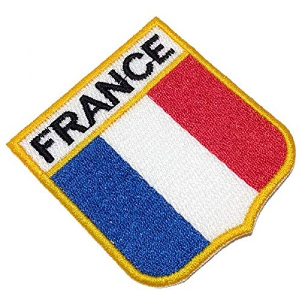 BR44 Airsoft Morale Patch 1 BEIN009T France Shield Flag Emblem 100% Embroidered Patch Iron or Sew Size 2,68x2,95 in