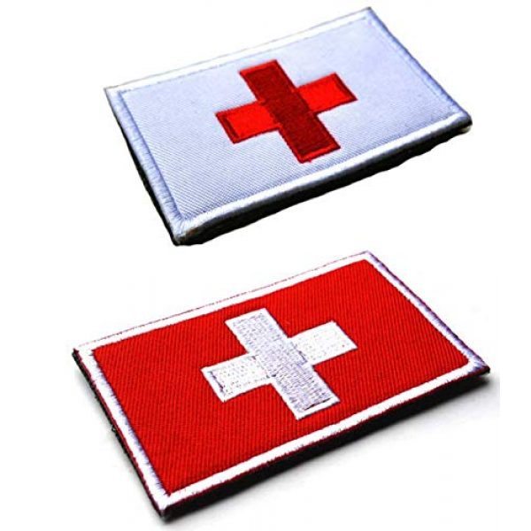 Tactical Embroidery Patch Airsoft Morale Patch 1 2pcs Switzerland Flag Embroidery Patch Military Tactical Morale Patch Badges Emblem Applique Hook Patches for Clothes Backpack Accessories