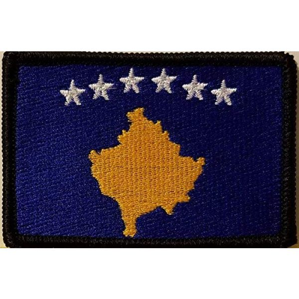 Fast Service Designs Airsoft Morale Patch 1 Kosovo Flag Embroidered Patch with Hook & Loop Morale Tactical Emblem Black Border