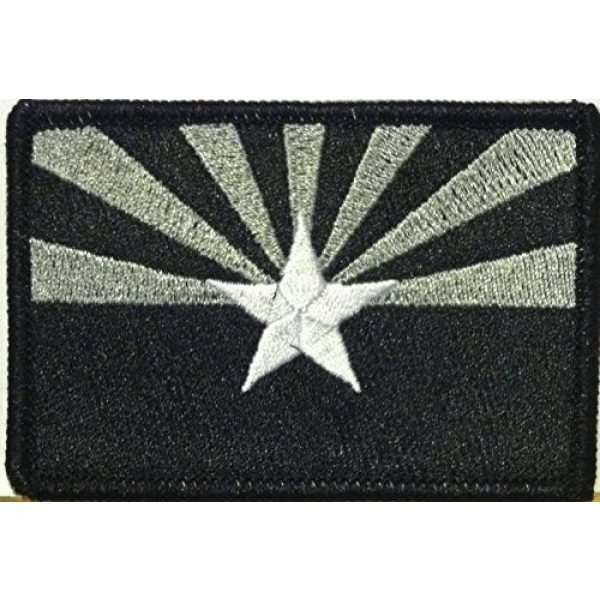 Fast Service Designs Airsoft Morale Patch 1 Arizona State Flag Embroidered Patch with Hook & Loop Travel Patriotic USA MC Biker Morale Emblem #13 (#5 Black & Gray. Black Border)