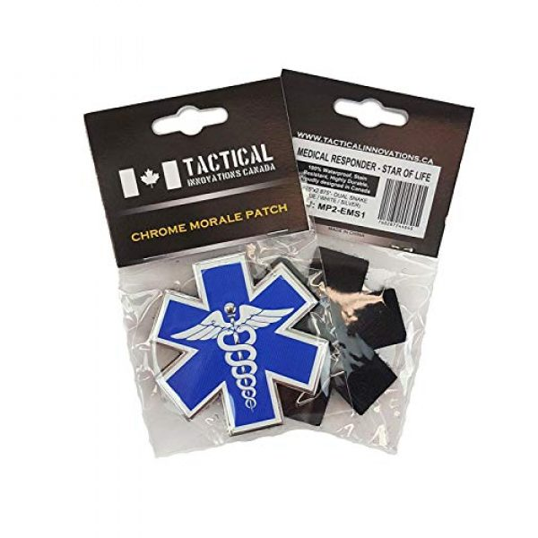 """Tactical Innovations Canada Airsoft Morale Patch 4 PVC Morale Patch - EMS - Medical Responder 3"""" Star of Life - Dual Snake - Blue/White/Silver"""