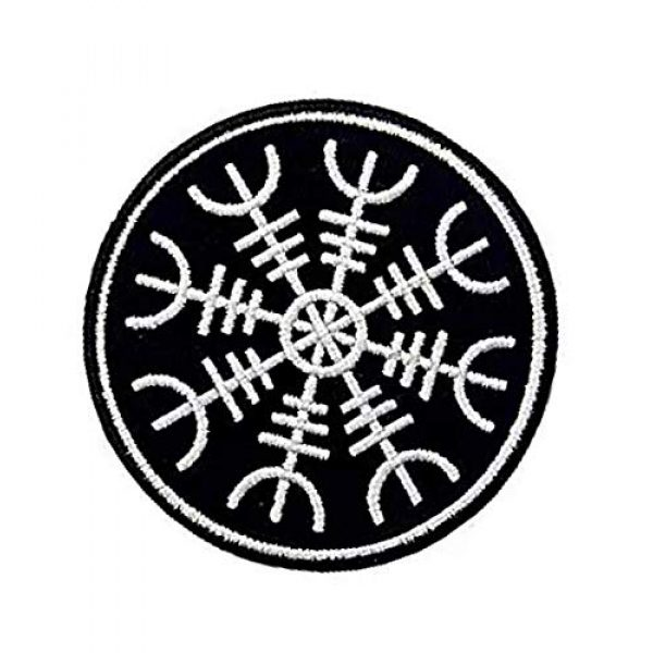Embroidery Patch Airsoft Morale Patch 3 Viking Helm of Awe Viking Compass Vegvisir Norse Rune Military Hook Loop Tactics Morale Embroidered Patch (color1)