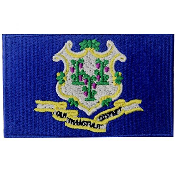 EmbTao Airsoft Morale Patch 1 Connecticut State Flag Embroidered Emblem Iron On Sew On CT Patch