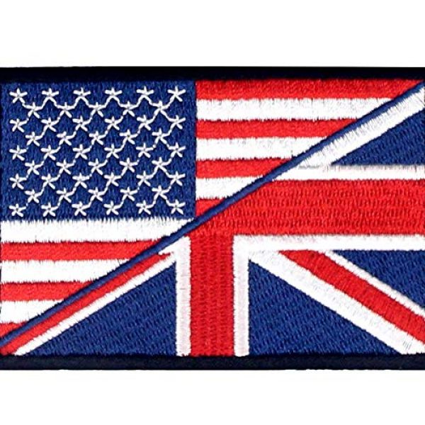 EmbTao Airsoft Morale Patch 2 USA American UK Union Jack Flag Patch Embroidered Morale Applique Iron On Sew On Emblem