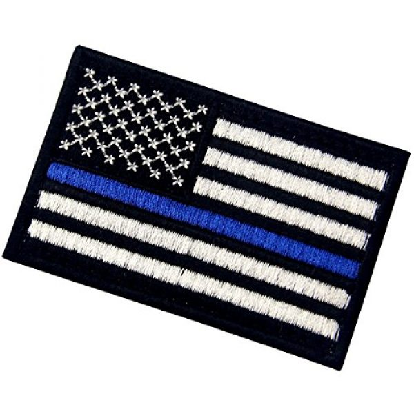 EmbTao Airsoft Morale Patch 4 Tactical Embroidered Thin Blue Line USA Flag Fastener Hook & Loop Patch