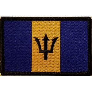 Fast Service Designs Airsoft Morale Patch 1 Barbados Flag Embroidered Patch with Hook & Loop Morale Tactical Travel Emblem Black Border