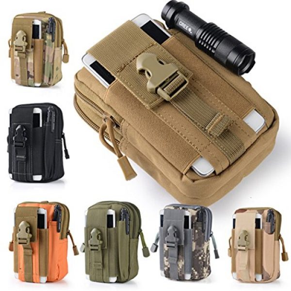 Abcsea Tactical Pouch 2 Abcsea Canvas Outdoor Tactical Wallets, Holster Military Molle Hip Waist Belt Bag Wallet Pouch Purse Phone Case with Zipper for iPhone 7 6s Plus 5S Samsung Galaxy S7 S6 LG HTC and More