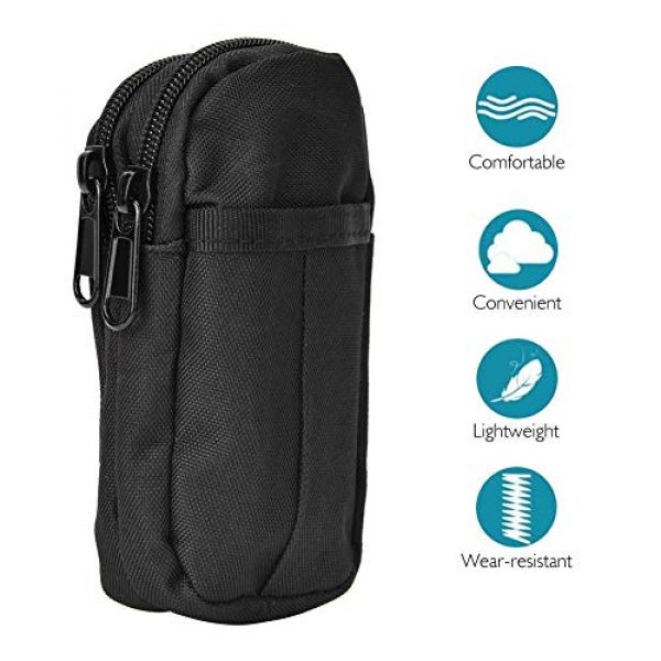 Bicaquu Tactical Pouch 5 Outdoor Waterproof Bag, Gadget Pouch, Long Time Use for Mountaineering Hiking(Black)