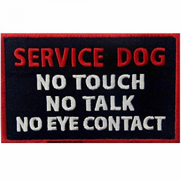 EmbTao Airsoft Morale Patch 1 Service Dog No Touch No Talk No Eye Contact Vests/Harnesses Emblem Embroidered Fastener Hook & Loop Patch