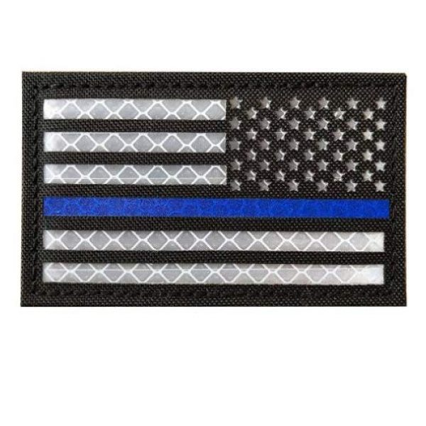 Zhikang68 Airsoft Morale Patch 2 Infrared IR US USA Flag Patch Tactical Military Morale Reflective American Flag Patch Hook&Loop Fastener Emblem Backing Multicam (2 PCS (Blue Line))