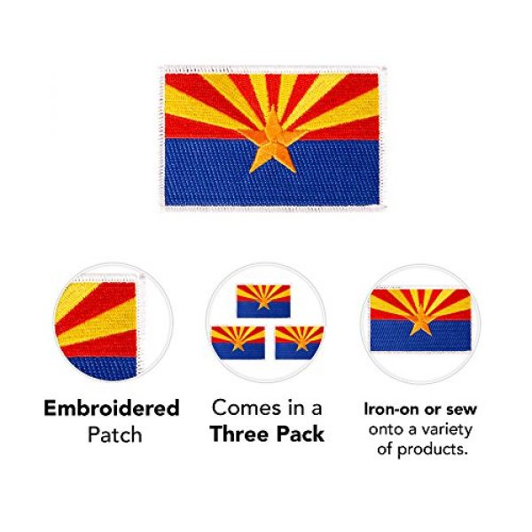Desert Cactus Airsoft Morale Patch 3 Arizona AZ Flag Patch Bulk 3.5 inch x 2.25 inch State Iron On Sew Embroidered Tactical Backpack Hat Bags Caps Jackets Pants (3-Pack Patch)