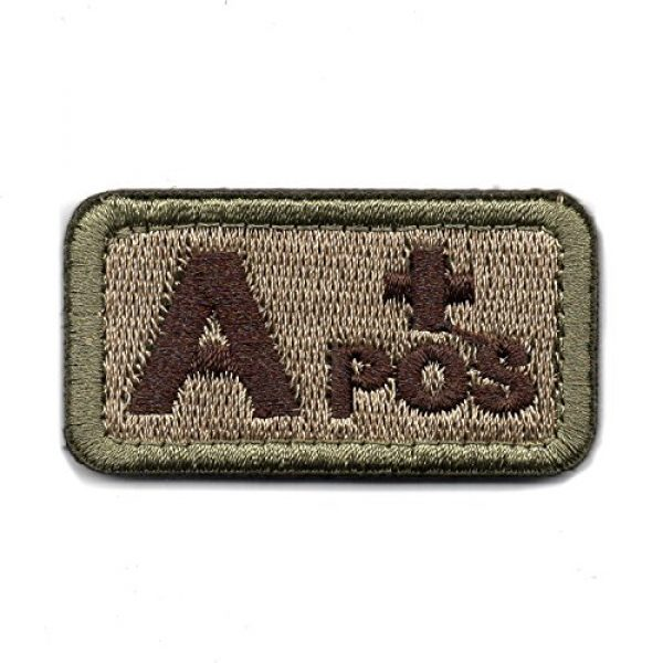 Wilde Passion Airsoft Morale Patch 1 Wilde Passion Blood Type A Positive POS Badge - Embroidered Morale Military Patch (Coyote Brown A)