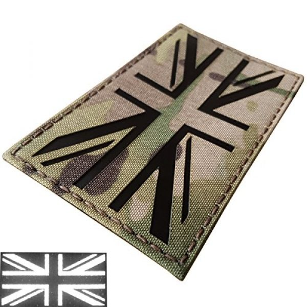Tactical Freaky Airsoft Morale Patch 3 Big 3x5 Multicam Infrared IR UK Union Jack Flag IFF Tactical Morale Fastener Patch