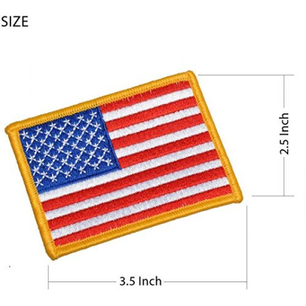 Chien Airsoft Morale Patch 2 Chien Tactical Morale Embroidery Patch Funny Military Patch USA Flag Full Embroidered Appliques for Caps Bags Vests Military Uniforms (4 Pieces USA Flags)