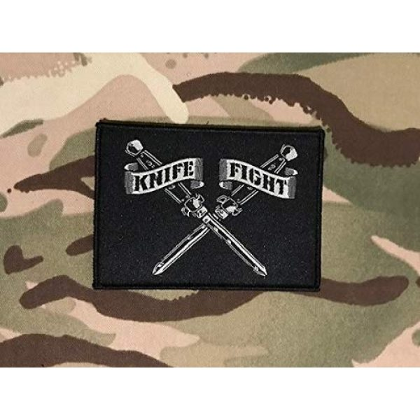 """BritKitUSA Airsoft Morale Patch 2 Knife Fight Woven Morale Patch Switchblade Hydro74 Rebel Without A Cause Hook & Loop Backing Sized 3.5"""" x 2.5"""""""