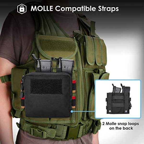 ProCase Tactical Pouch 4 ProCase Tactical Admin Molle Pouch with 2 Rifle Magazine Pouch for M4 G36 HK416 AR AK 5.56/7.62 mm Magazines -Black