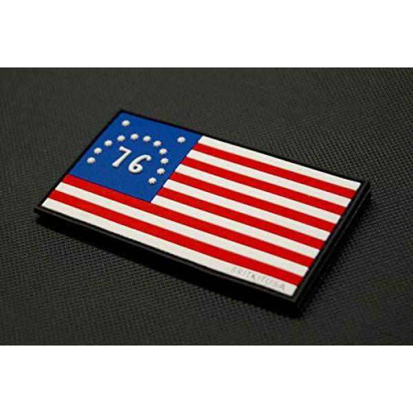 BritKitUSA Airsoft Morale Patch 2 BritKitUSA PVC Bennington Flag Spirit of '76 Morale Patch American Patriot 3% 1776 Hook