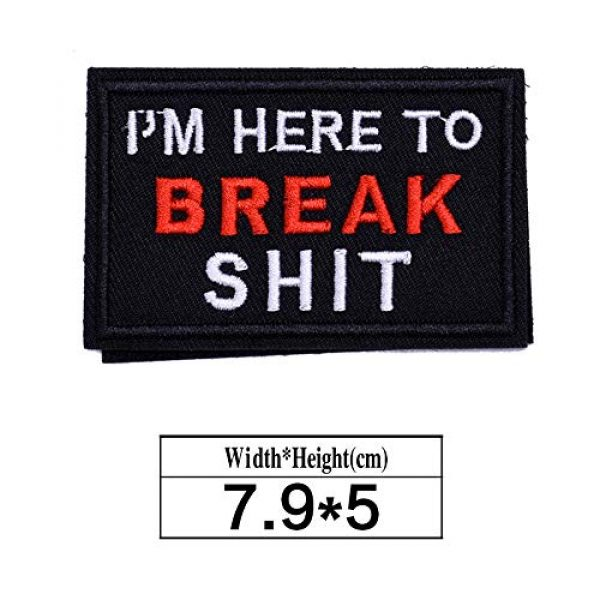 ZHDTW Airsoft Morale Patch 2 ZHDTW Tactical Morale Letter Patches I'm Here to Break Shit Decorative Patches with Hook Loop for Bags, Backpacks, Clothing (DT055)