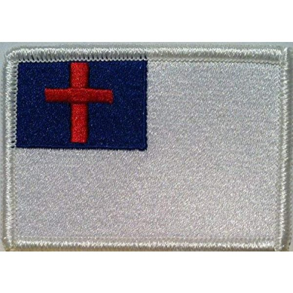 Fast Service Designs Airsoft Morale Patch 1 Christian Flag Embroidered with Hook & Loop Patch MC Biker Morale Tactical Shoulder White Emblem #042
