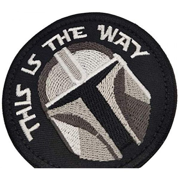 APBVIHL Airsoft Morale Patch 6 This is The Way Mandalorian Morale Patch, Fastener Hook and Loop Backing Tactical Military Embroidered Fabric Patches for Clothes Hat Backpack, 3.15 Inch, Bundle 2 Pieces