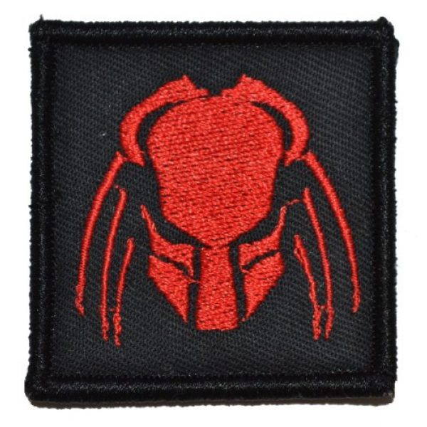 Tactical Gear Junkie Airsoft Morale Patch 1 Predator Head 2x2 Patch - Black with Red