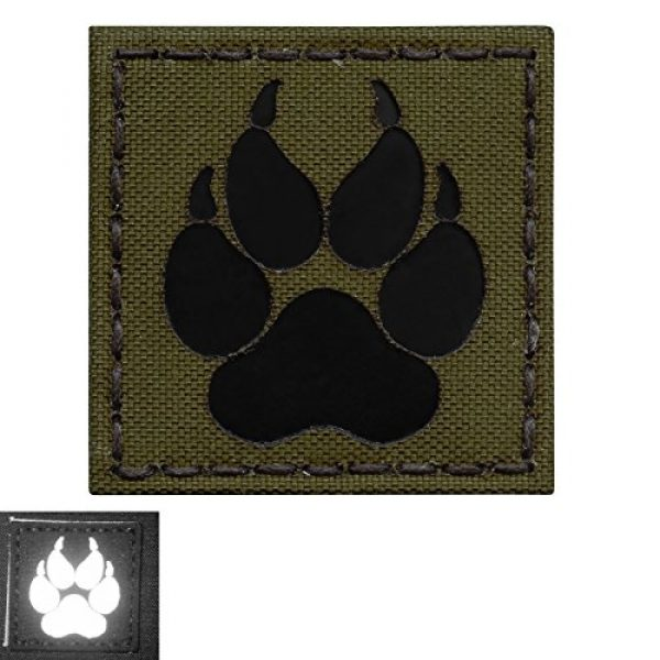 Tactical Freaky Airsoft Morale Patch 4 Olive Drab OD Green Infrared IR K9 Dog Handler Paw K-9 2x2 Tactical Morale Fastener Patch
